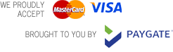 We accept payments through several options via PayGate