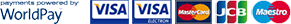 Accepted payments via WorldPay: VISA, MasterCard, JCB, Maestro